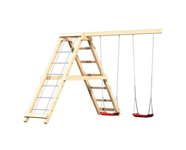 Doppelschaukelanbau mit Netzrampe für Spielturm