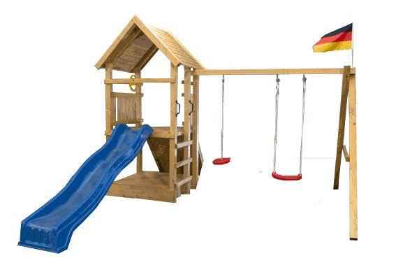 Spielturm mit Rutsche und Schaukel - Sparpaket Drehanker